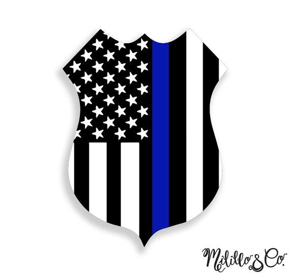 Thin Blue Line Police Officer Badge American Flag by MililloAndCo