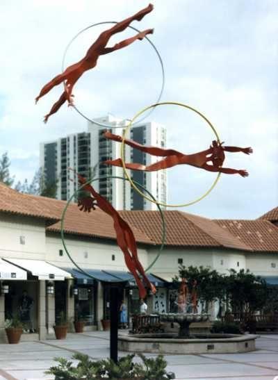 Steel Garden Or Yard #sculpture by #sculptor Esther Wertheimer titled: 'Water Babies' #art