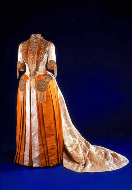 Mary Harrison McKee's Inaugural Gown,1889. Mary McKee wore this elaborate Victorian gown to her father's inaugural ball in 1889. In accordance with President Benjamin Harrison's economic philosophy of supporting home-based manufacturing, the gown was intentionally all-American. Indiana artist Mary Williamson designed the fabric pattern, and the Logan Silk Co. of Auburn, NY, wove the brocaded fabric. The fabric of the gown incorporates a pattern of goldenrod, President Harrison's favorite…