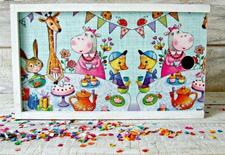 Pencil-box, animals and decoupage :) I love it!  #decoupage,