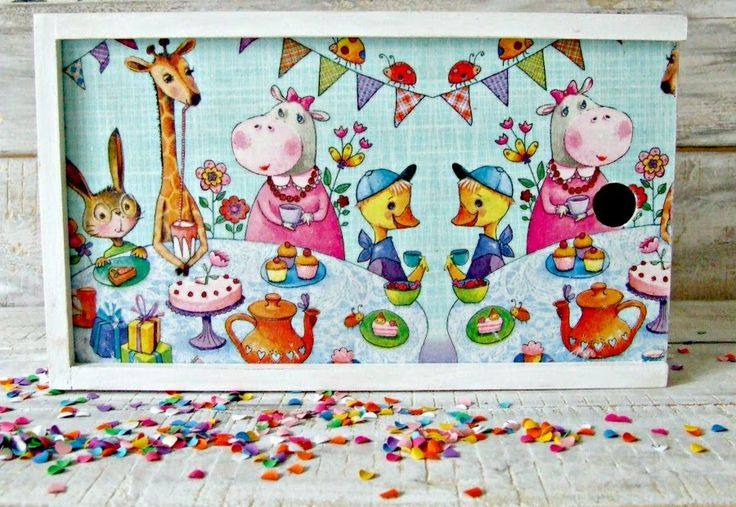 Pencil-box, animals and decoupage :) I love it!  #decoupage,