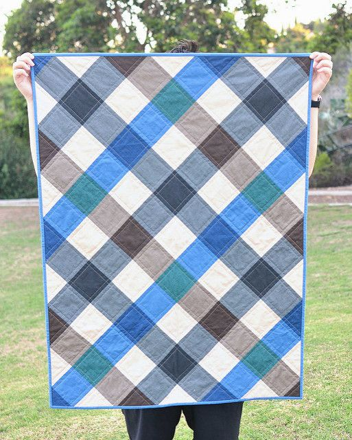 """I'm really, really digging the translucent look of this """"Peppered Cottons Plaid Quilt"""" by Erica Jackman of Kitchen Table Quilting."""