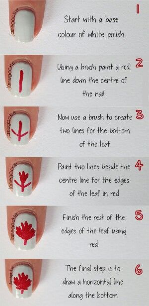 Canada leaf nail art tutorial.