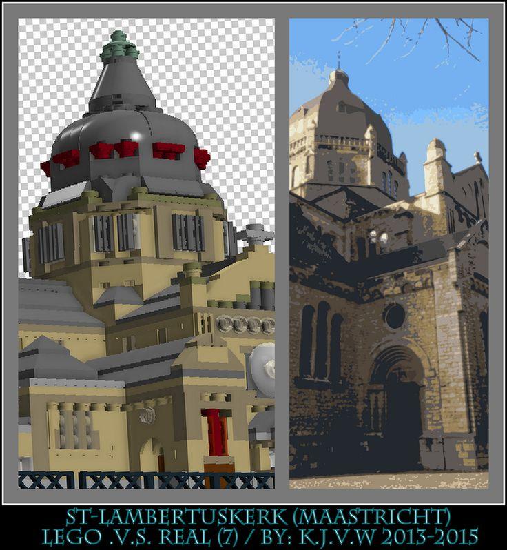 [ st-lambertuskerk lego .v.s. real part 7 ]  7 of the 19 photo's from my collage of St-Lambertuskerk (Maastricht) ((Non-lego))
