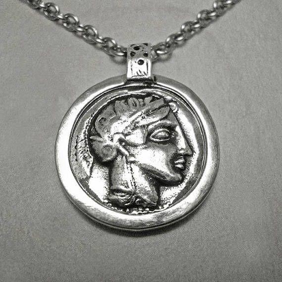 Athena coin necklacesilver coin necklaceathena owl