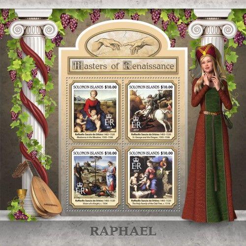 "SLM17109a Raphael (Raffaello Sanzio da Urbino (1483–1520) ""Madonna in the Meadow"", 1505–1506; ""St. George and the Dragon"", 1505–1506; ""Vision of a Knight"", c. 1504; ""The Holy Family of the Oak Tree"", c. 1518)"