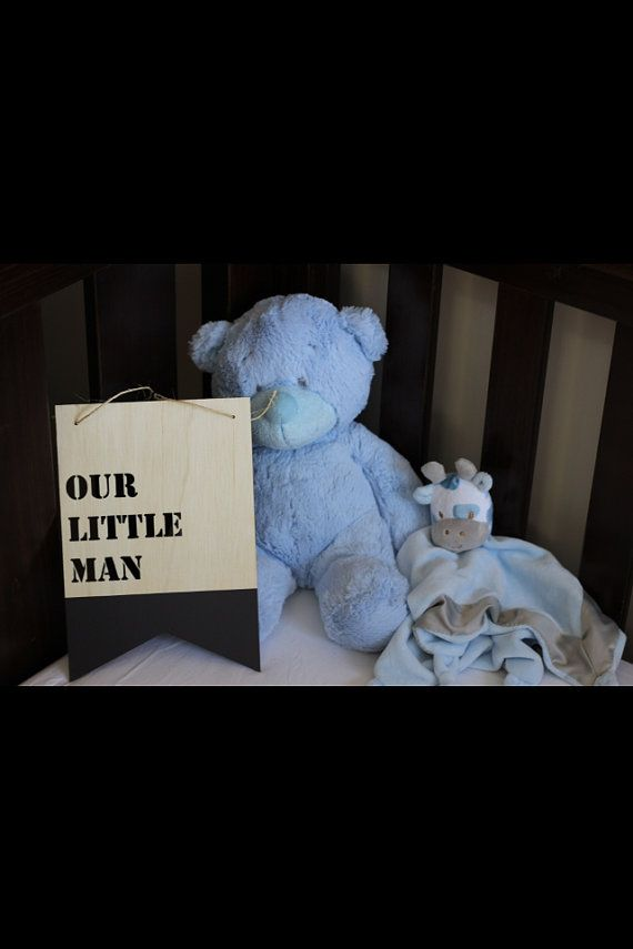 The timber OUR LITTLE MAN plaque from Katrina Louise Designs is perfect to decorate a baby boys room or nursery.