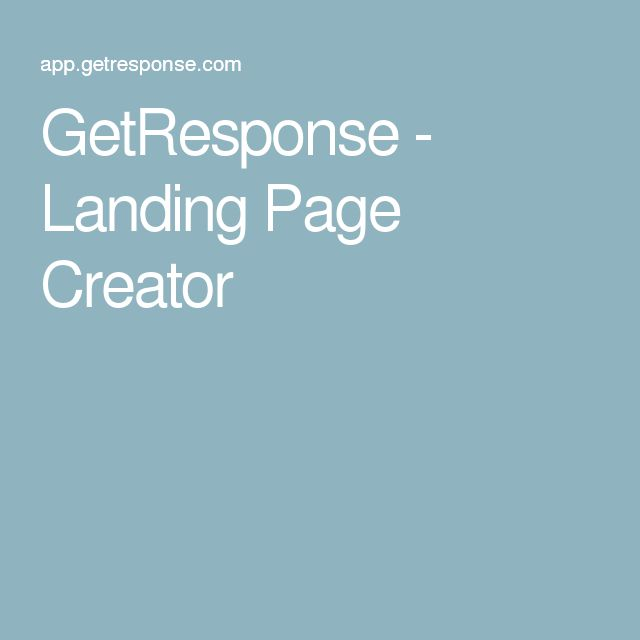 GetResponse - Landing Page Creator