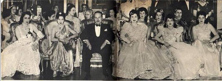 HM King Farouk With Members of The Royal Family of Egypt and HIH Princess Ashraf Pahlavi of Iran.