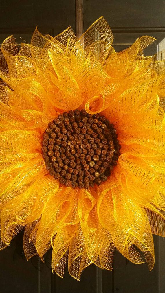 *****US ORDERS*****Brighten your entryway with this cheerful deco mesh sunflower! It is large at 28 diameter. The center is composed of
