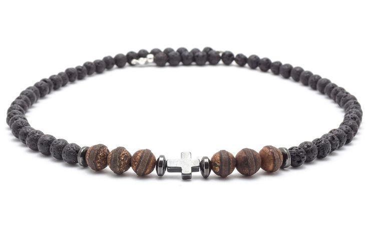 Mens Necklaces – Necklace men volcanic lava agate tibetan hematite – a unique product by Blackif on DaWanda