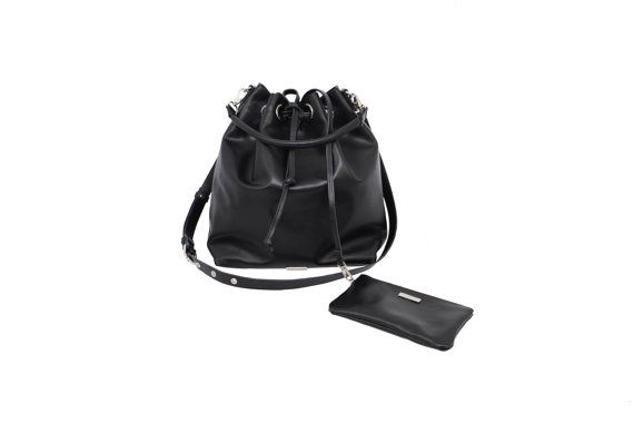 Black leather bucket bag Drawstring bag by MONAObags on Etsy