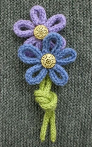 Forget-me-not brooch; How to Make Flowers from I-cord or French Knitting