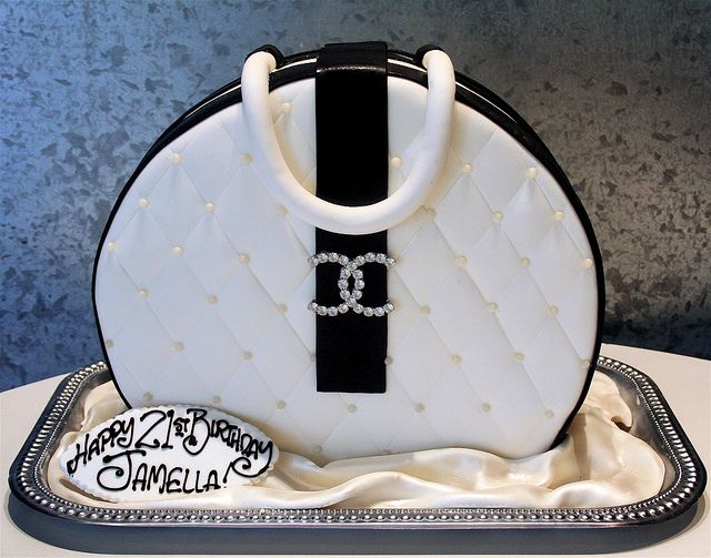 Elegant Black and White Chanel Handbag Cake