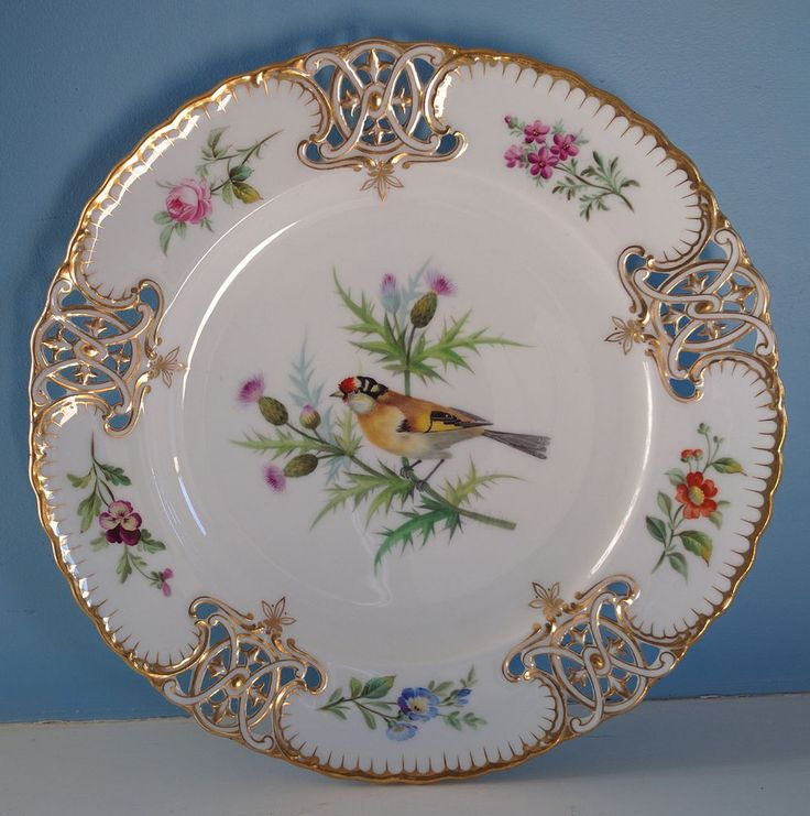 Incredible Antique Minton Bird Plates CA 1860s Pierced Rim w Gold Handpainted | eBay