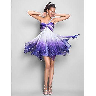 This would be a cute bridesmaids dress. The bottom has stars on the dark purple that look like a galaxy A-line One Shoulder Short/Mini Chiffon Cocktail Dress – CAD $ 142.56
