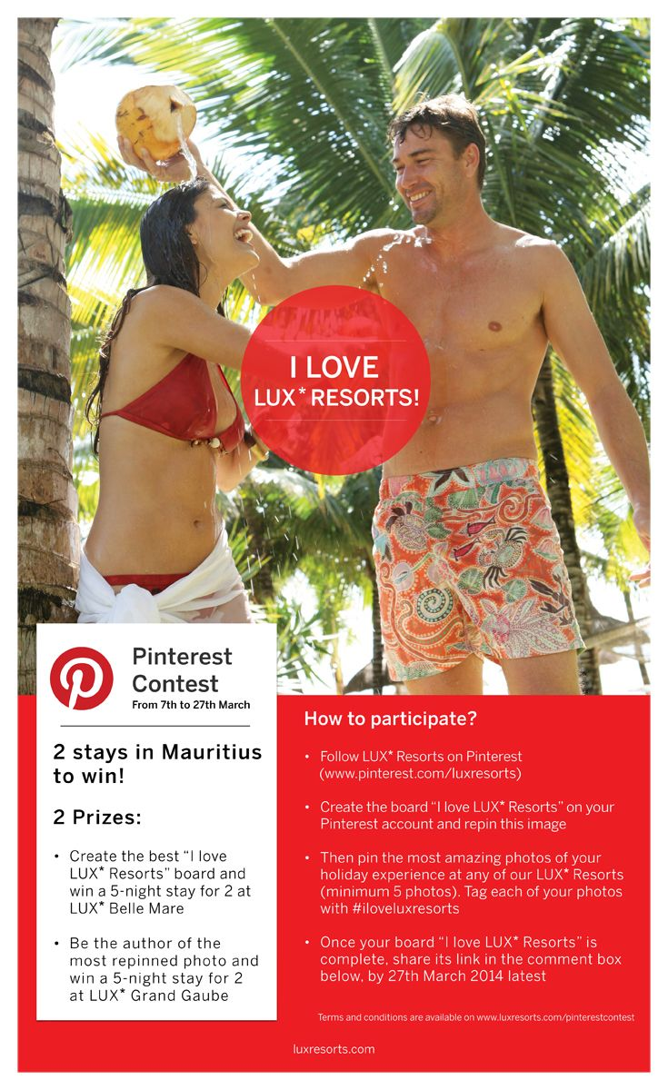 """Get involved in our """"I Love LUX* Resorts"""" #contest and you could #win a stay in #Mauritius!"""