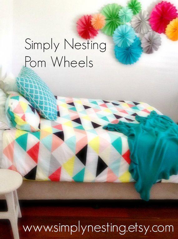11 tissue paper pom wheels pom poms pom medallions for Pom pom room decor
