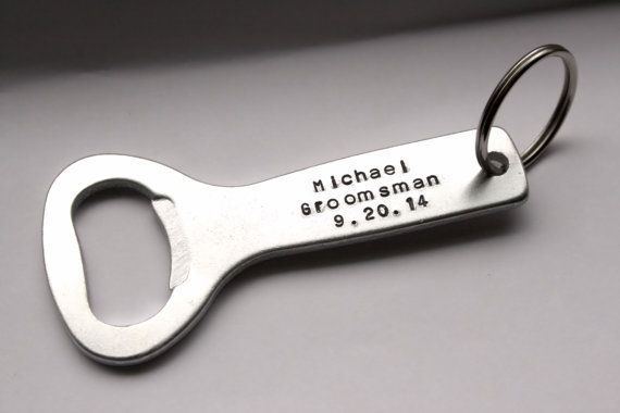 Personalized Hand Stamped Bottle Opener, Key Chain, Groom, Groomsman, Bridal Party, Mens Accessories, Wedding Party