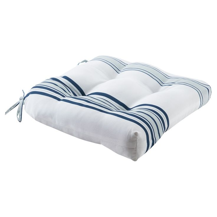 Ventura Printed Stripe 3M Scotchgard Outdoor Seat Cushion - Navy/White (Blue/White)
