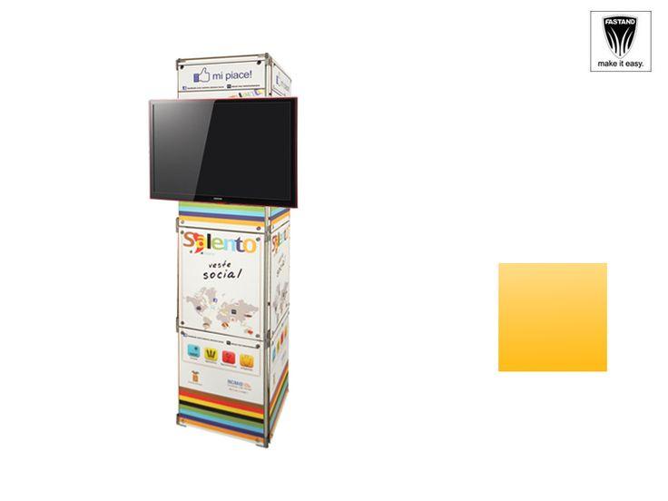 Colonna componibile e modulare porta LCD, realizzata in alluminio anodizzato con sistema quadra standard; giunti fastand a pressione, rivestimento in pannello rigido con stampa grafica applicata. Piedini regolabili in altezza e pistra universale reggi monitor LCD. Imballo sacca fastand di trasporto.