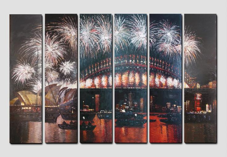 New Year Firework at Harbour Bridge Australia Painting