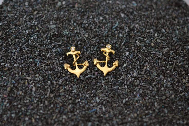 Anchor Gold Earrings Solid 18k Gold Earrings Best Gold Earrings Romantic Studs Wife Gold Studs 2 Stud Earrings Set Gold Mom Earrings by ViazisJewelry on Etsy