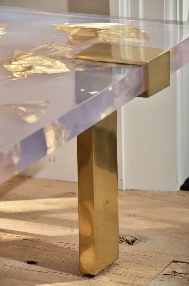 Contemporary Gold Leaf Inlay Coffee Table with Brass Frame | From a unique collection of antique and modern coffee and cocktail tables at https://www.1stdibs.com/furniture/tables/coffee-tables-cocktail-tables/