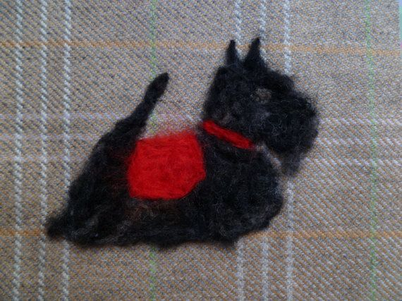 Scottie dog on fawn tweed needle felted textile art in white