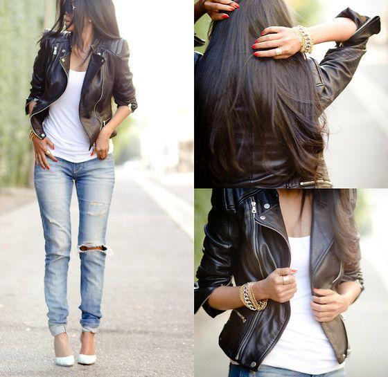 Leather Jacket, Boyfriend Jeans - OFF DUTY - Sheryl L