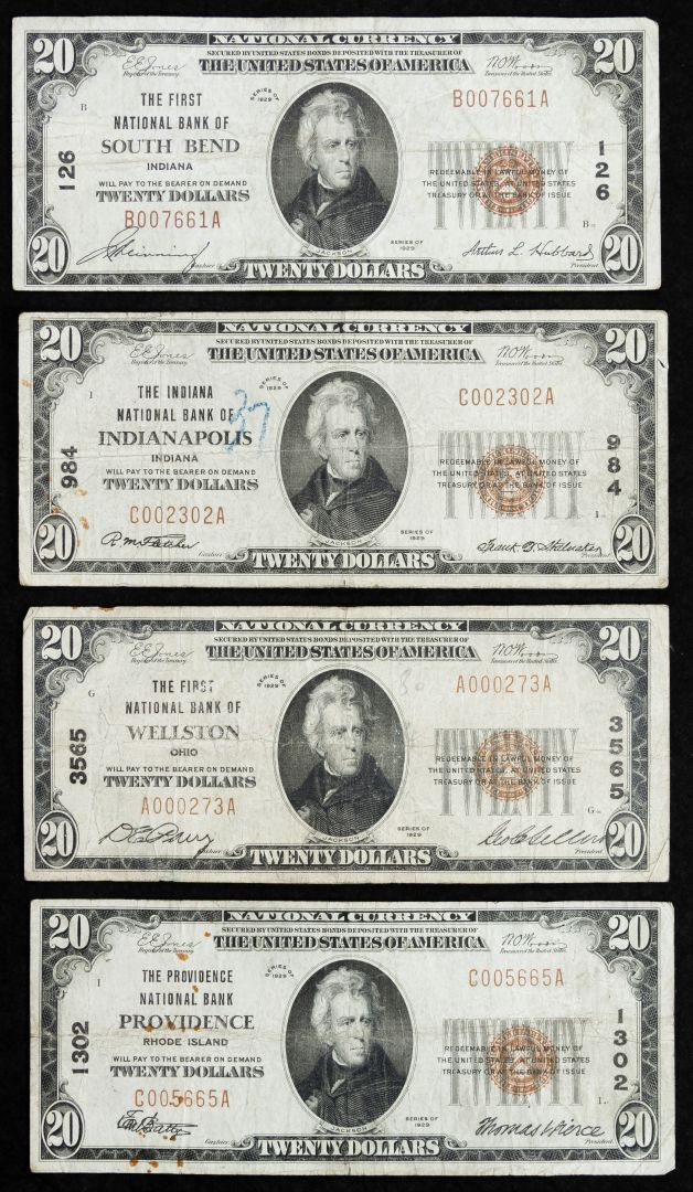 Lot 43: 1929 $20 National Assortment VG/F; Including The Providence National Bank Providence, RI charter #1302, The First National Bank of Wellston, OH charter #3565, The First National Bank of South Bend, IN charter #126 and The Indiana National Bank of Indianapolis, IN charter #984
