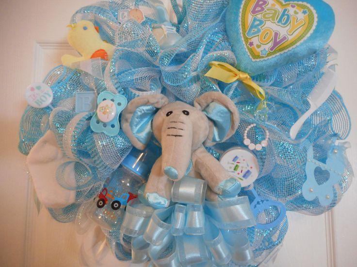 Newborn Baby Boy Deco Mesh Wreaths, Baby Shower Deco Mesh Wreath, Welcome Home Door Wreath, Hospital Door Wreath, Nursery Elephant Wreaths by MimisSparkledDesigns on Etsy