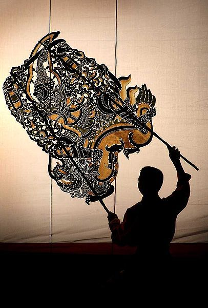 A buffalohide puppet used in Nang drama (Nang Talung), a form of shadow play from Thailand.