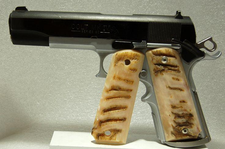 Custom Handmade 1911 Pistol Grips.  This is Murano Ram Horn.  Very Cool. gripsbylarry.com