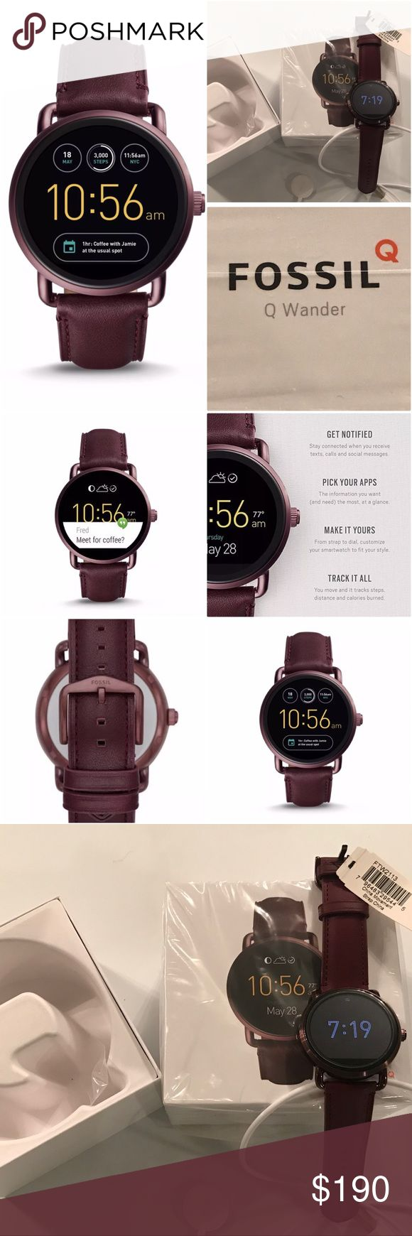 Fossil Q Wander Burgundy Wine Smartwatch - Fab✨✨ Well, I'm embarrassed to say that I had no idea that my IPhone wouldn't work with this watch!! I know what you're thinking....However, I was so in love with this fabulous color that I neglected to get the details on compatibility.  • Fossil Q Wander Gen 2 Smartwatch • Burgundy/Wine  This watch is ✨NEW, although the box has been opened. Many of the features do not work with iphone. Some features do work: Messages, emails, social media…