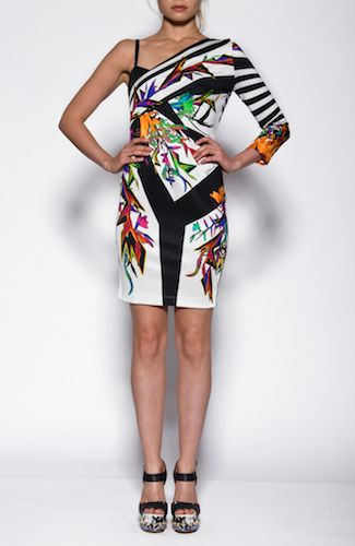 Just Cavalli dress Short dress with flowers and stripes, open back, one sleeve. 87%VISCOSE13%ELASTANE Code: S04CT0242N20629