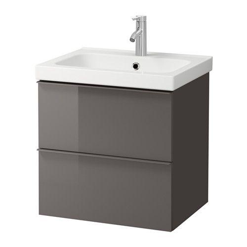 GODMORGON / ODENSVIK Kast voor wastafel met 2 lades, grijs hoogglans grijs 60x49x64 cm hoogglans grijs
