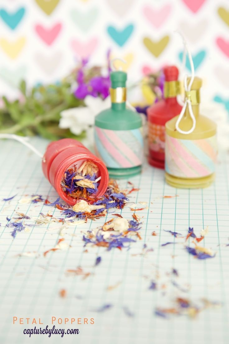 DIY Real Petal Confetti Party Poppers - so much cuter than the silly strings!!