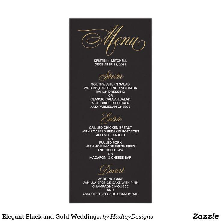 invitation wordings for wedding by bride and groom%0A Elegant Black and Gold Wedding Menu Card