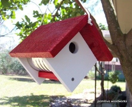 Coffee Can Birdhouse  Painted Recycled by PrimitiveWoodworks, $20.00