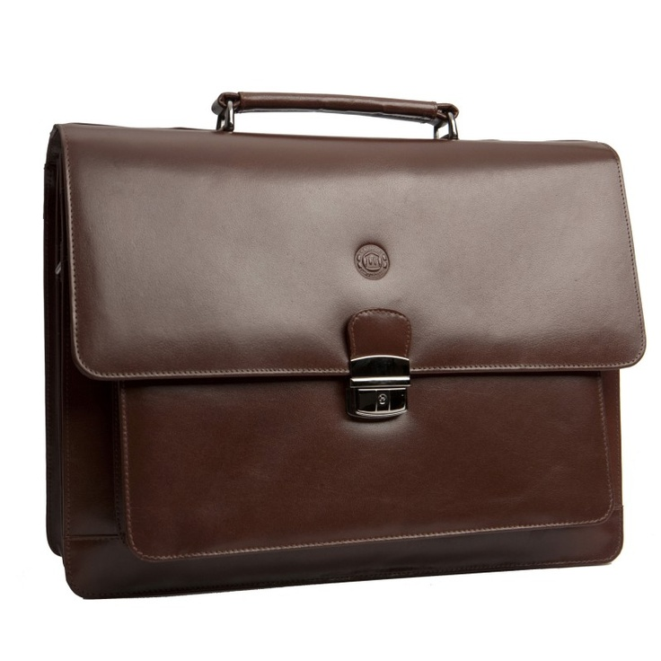 "Classic brown leather briefcase for PC & MacBooks. Available in sizes from 14"" - 16"". Price: $220. More information: www.dbramante1928.com."