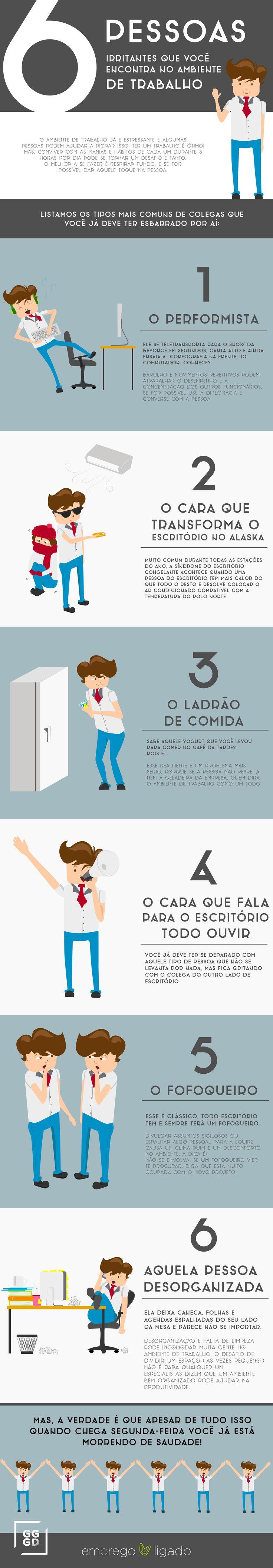 Infográfico - 6 pessoas irritantes que você encontra no ambiente de trabalho | EMPREGO LIGADO - Ilustração  Infographic | Illustration