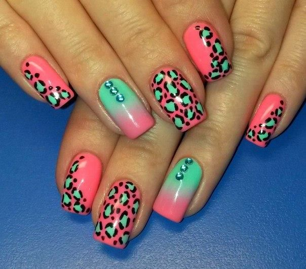 ombre nails with animal prints