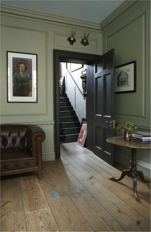 Hallway, Grey Green Neutral With Depth. Lounge With Walls In French Gray  Estate Eggshell And Woodwork In Mahogany Estate Eggshell. Design Ideas