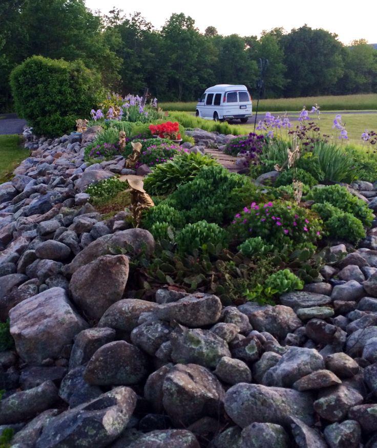 Front yard stone row area.