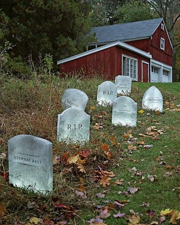 Tombstone Decorations for Your Lawn! Use our spooky templates for a frightfully simple way to create crafts and decorations for Halloween. Set out a few tombstones in your yard and let them work the graveyard shift on Halloween. These are made by trimming gray paper bags. They bear an eerie resemblance to real gravestones when lit with mini lights.