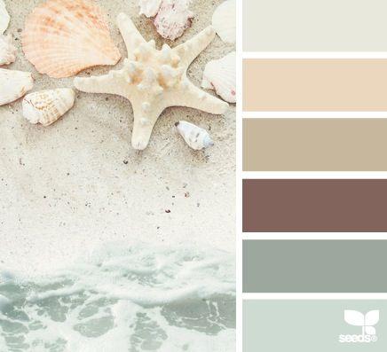 Creams, Browns, Seafoams - potentially a good color scheme for a bathroom. Very calming. Prefer to have more color than this?
