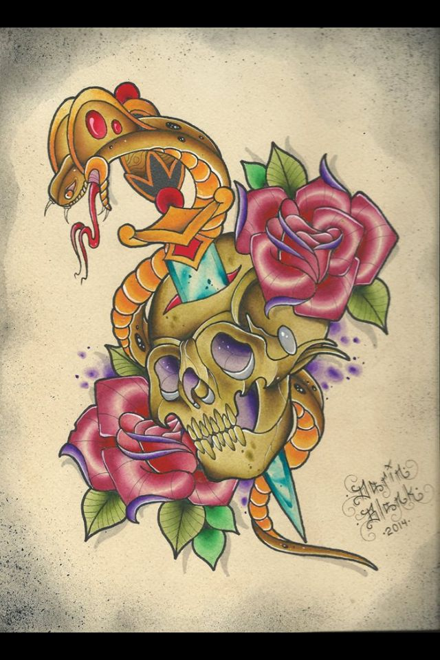 Traditional cobra, skull, and roses tattoo flash by Darin Blank. Instagram: @blankenstein83
