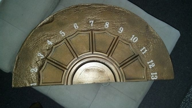 Elevator dial DIY!  Brilliant! want to put this above linen closet doors.
