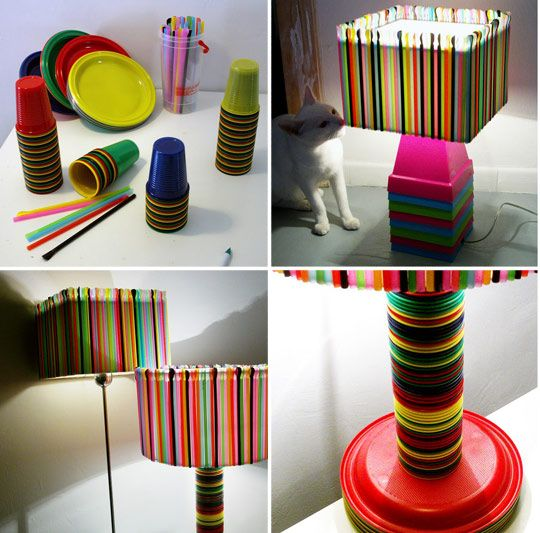Make a recycled lamp out of leftover partyware.  #eco #design
